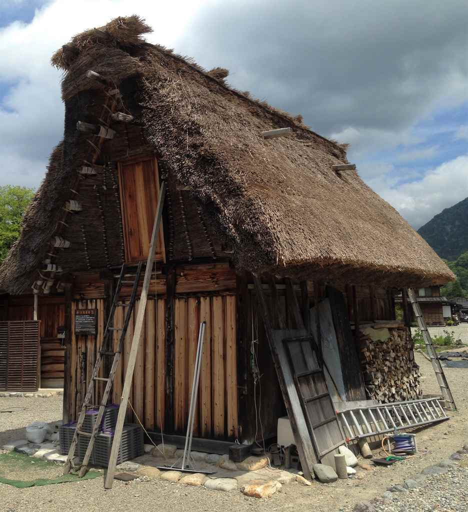 Gassho-zukuri roof on typical farmhouse in Shirakawago