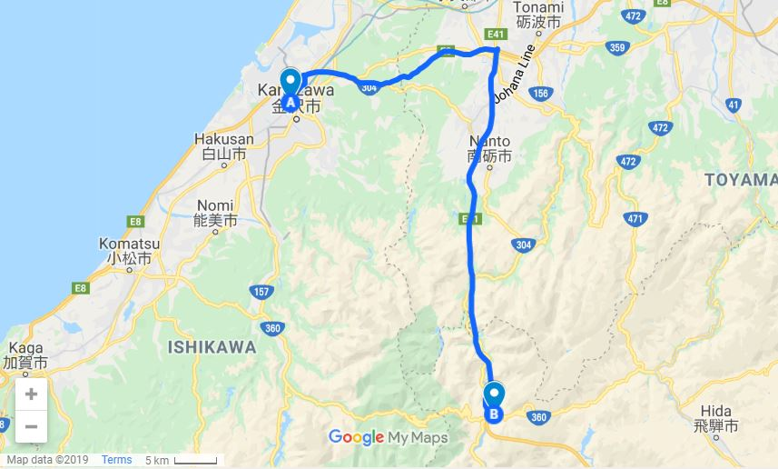 Kanazawa to Shirakawago map