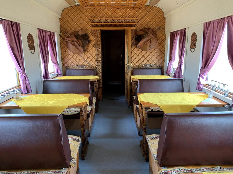 Restaurant car on the Trans Mongolian