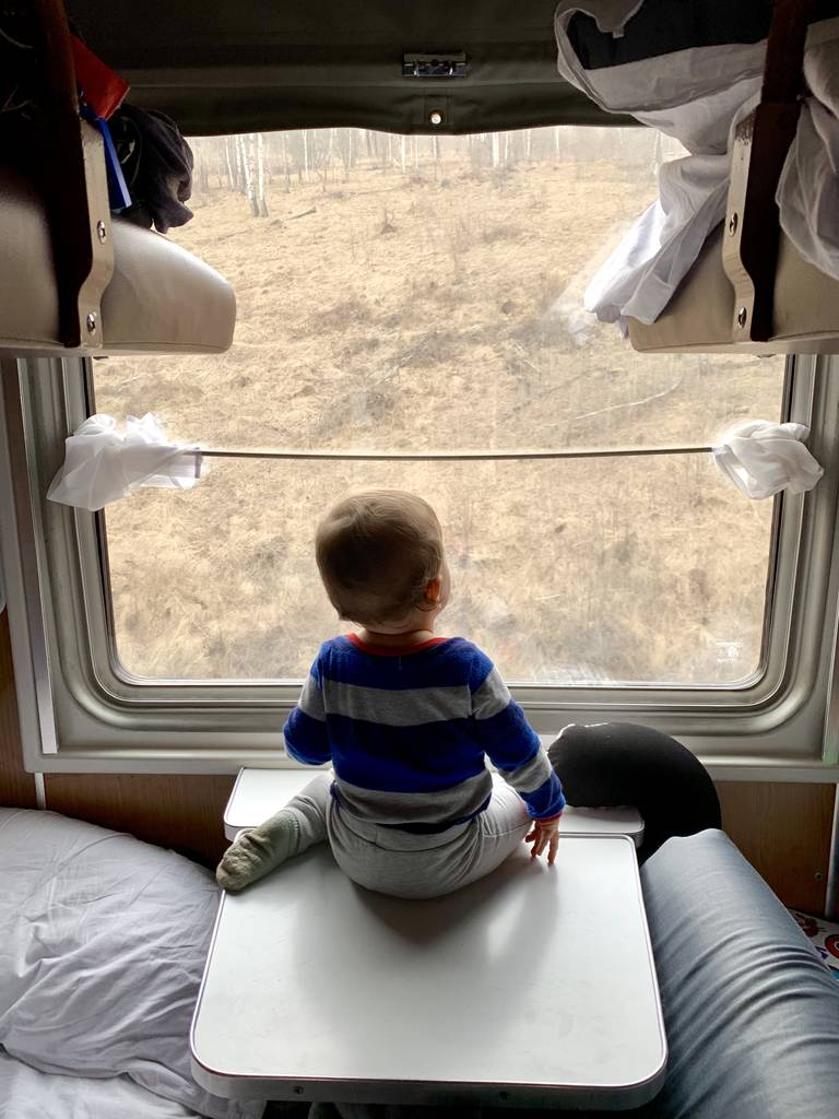 Trans Mongolian Railway with a baby