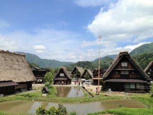 Houses with gassho-zukuri roofs in Shirakawa-go Japanese Alps