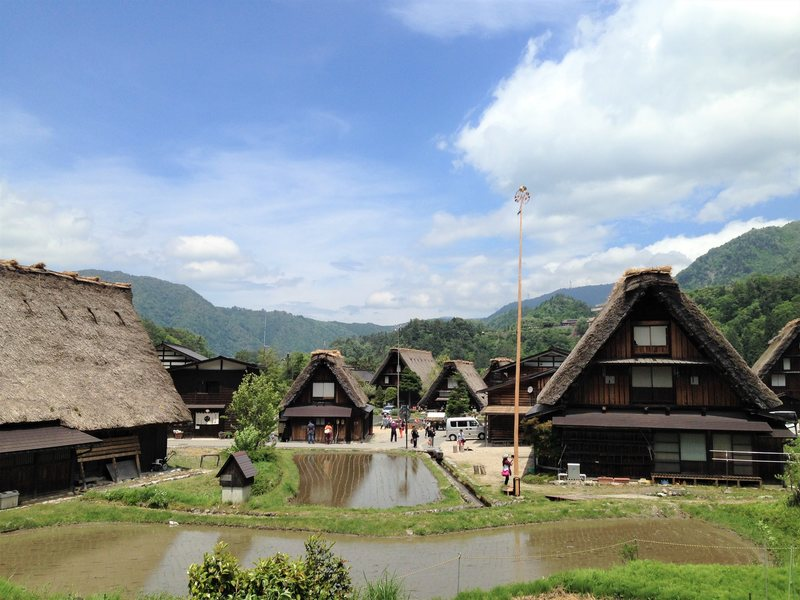 Houses with gassho-zukuri roofs in Shirakawa-go Japanese Alps