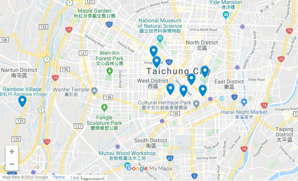 Taichung itinerary map