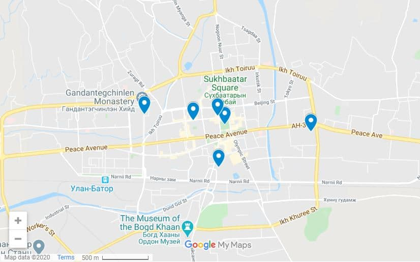 Ulaanbataar map and itinerary