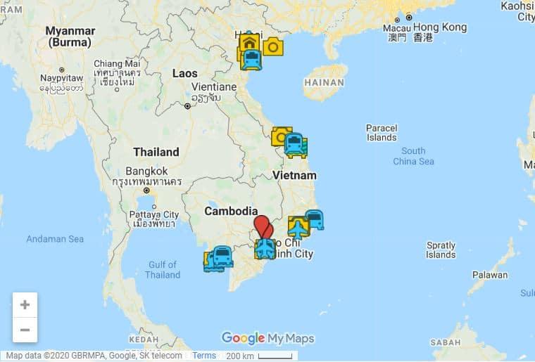 Vietnam itinerary map