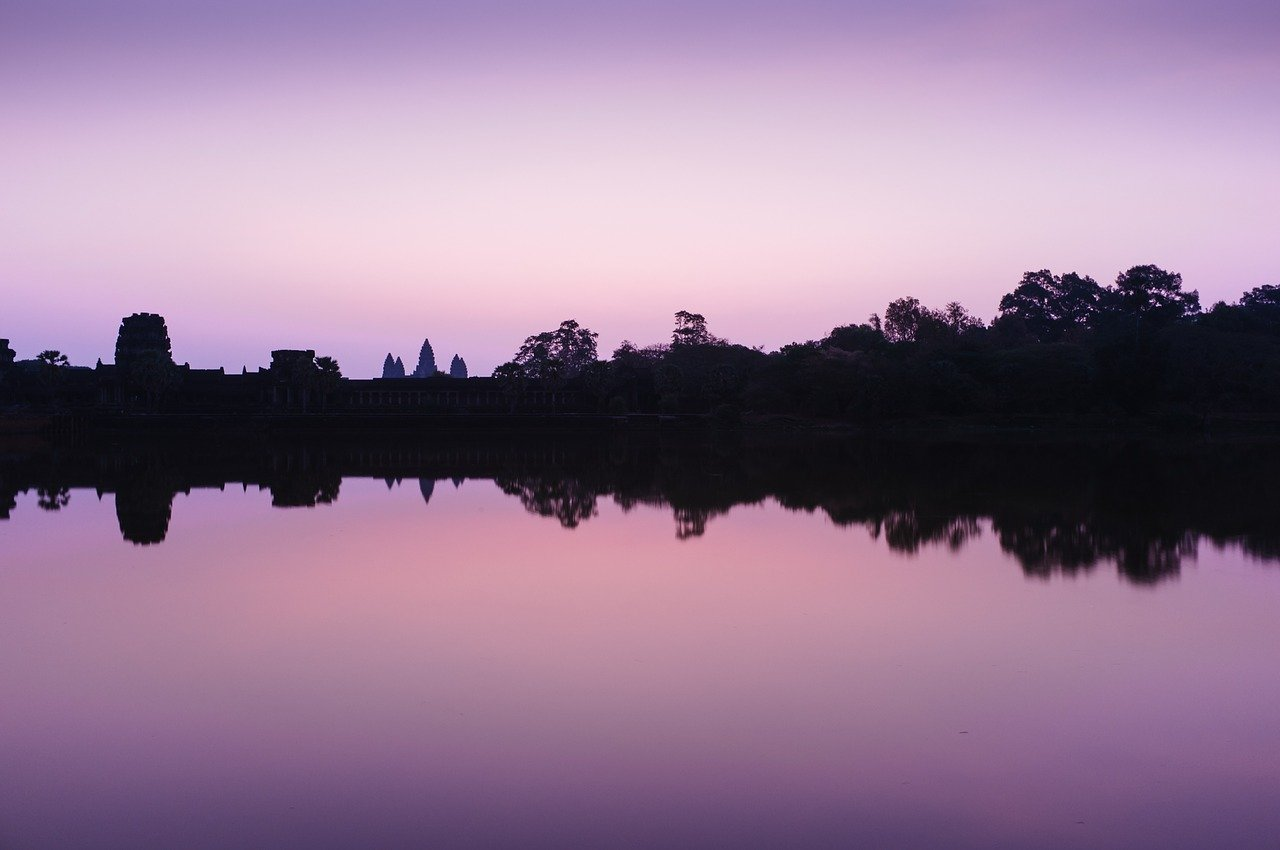 Purple glow over Angkor Wat Cambodia