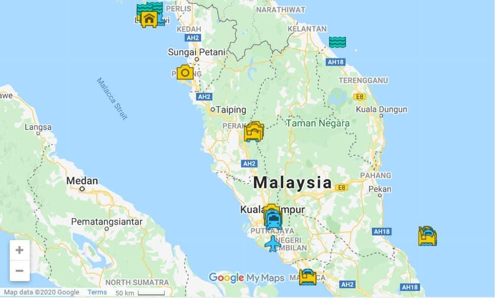 Malaysia itinerary map