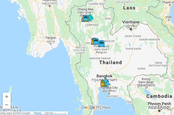 Thailand itinerary map Bangkok and Northern Thailand