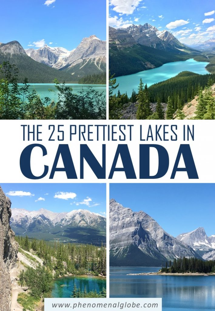 Looking for the most beautiful lakes in Canada? Click here to see 25 of the prettiest lakes in Canada, including Moraine Lake and Lake Louise but also lesser-known lakes such as the Grassi Lakes and Canisbay Lake | Beautiful Canadian Lakes | Best Lakes in Canada | #Canada #travelinspiration #lakes