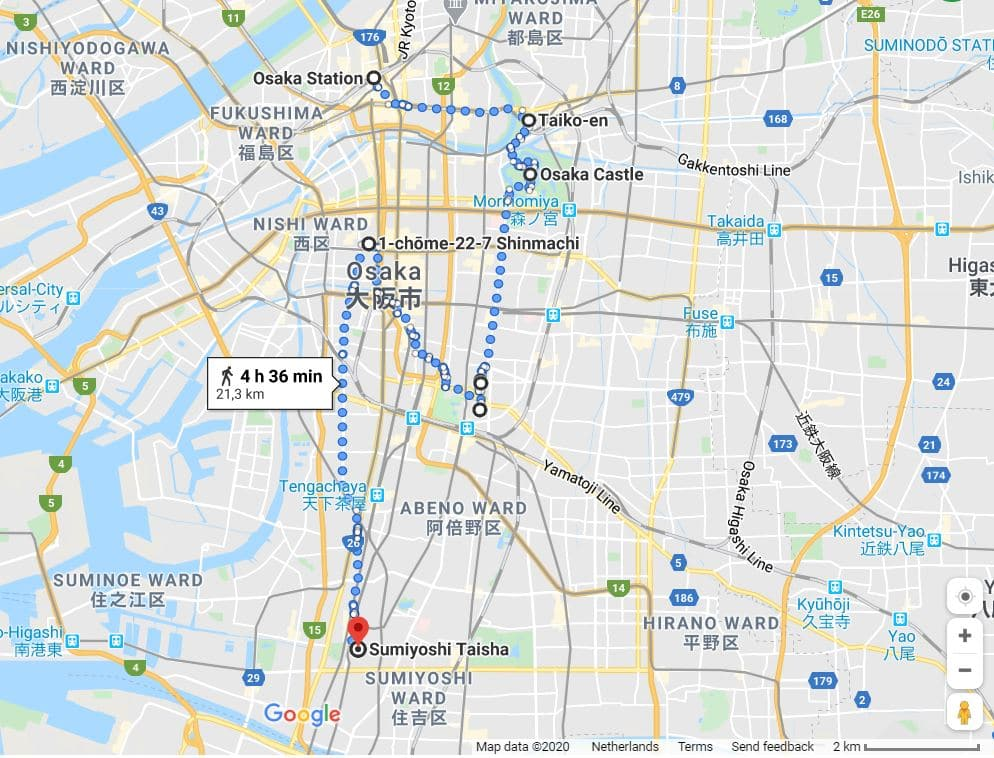 Osaka itinerary map