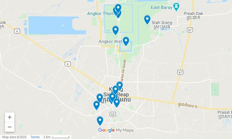 Siem Reap itinerary map