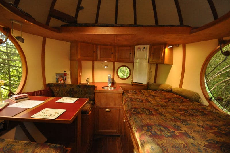 Bed inside one of the Free Spirit Spheres