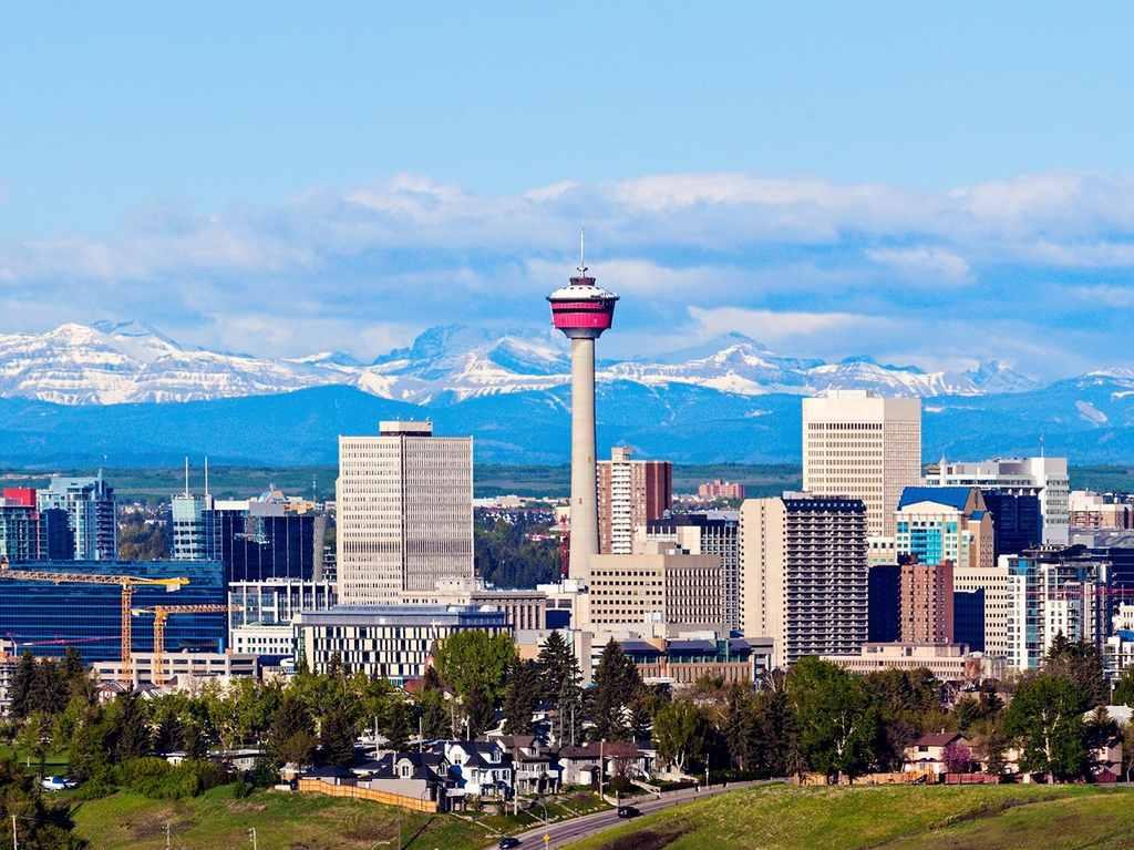 Calgary skyline with Rocky Mountains