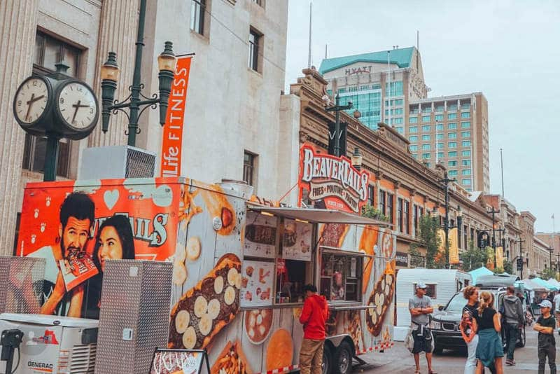 Downtown Calgary with beavertail food truck