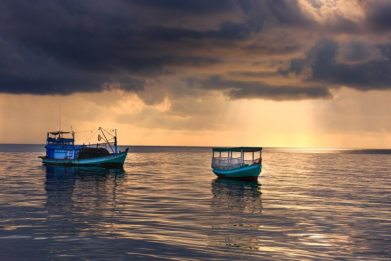 Fishing boats during sunset Phu Quoc