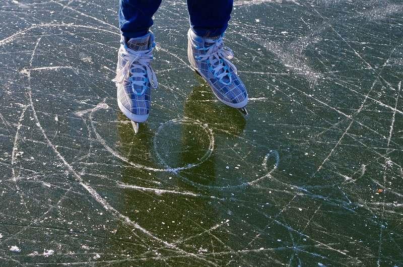 Ice skating at Princes Island Park Calgary