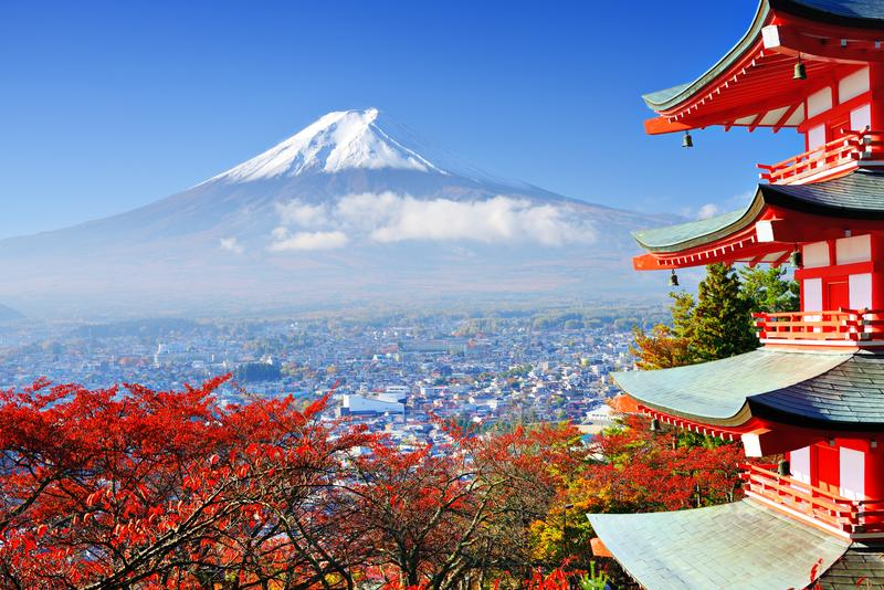 Mount Fuji Japan in autumn