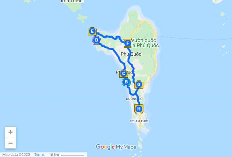 Phu Quoc itinerary map day 2
