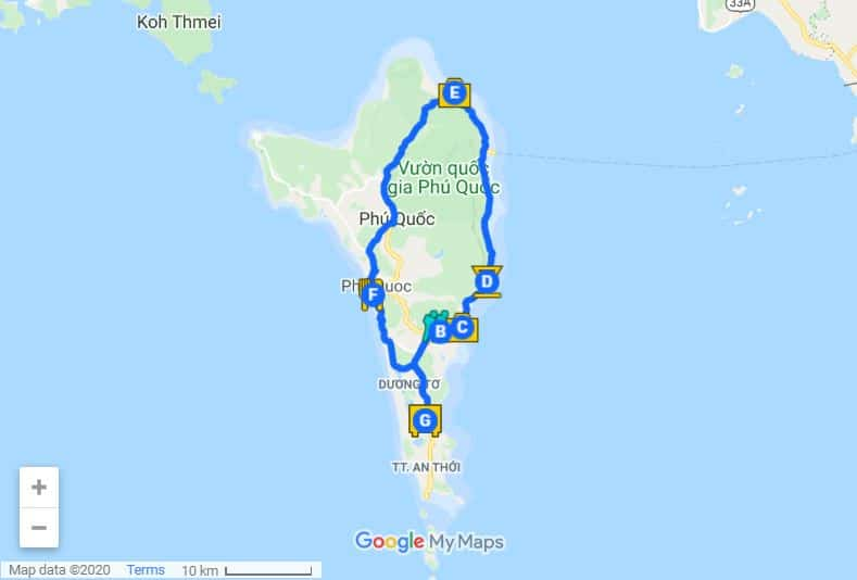 Phu Quoc itinerary map day 3