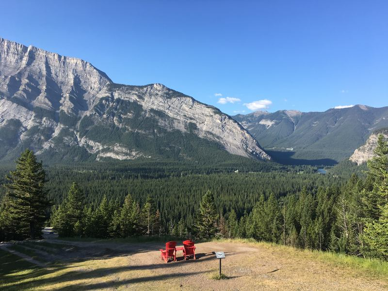 Red chairs in Banff National Parks