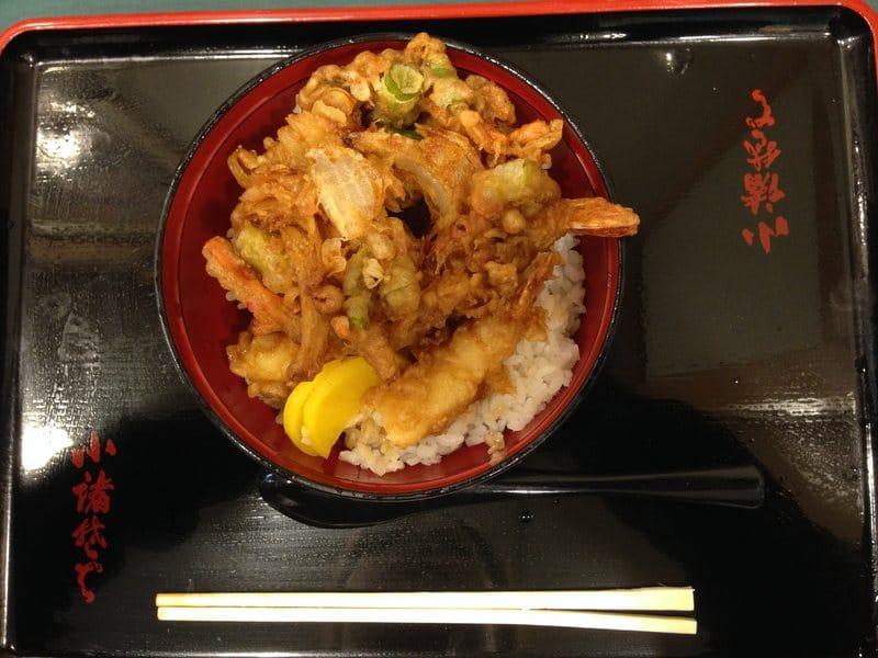 Rice with shrimp tempura Japan