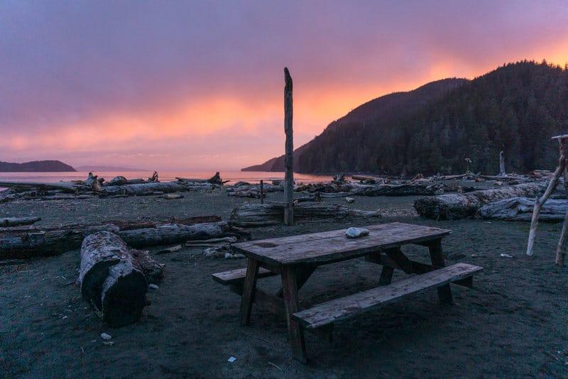 Sunset at Pacheedaht Campground on Vancouver Island