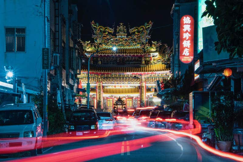 Tianhou Temple by night, Taitung Taiwan