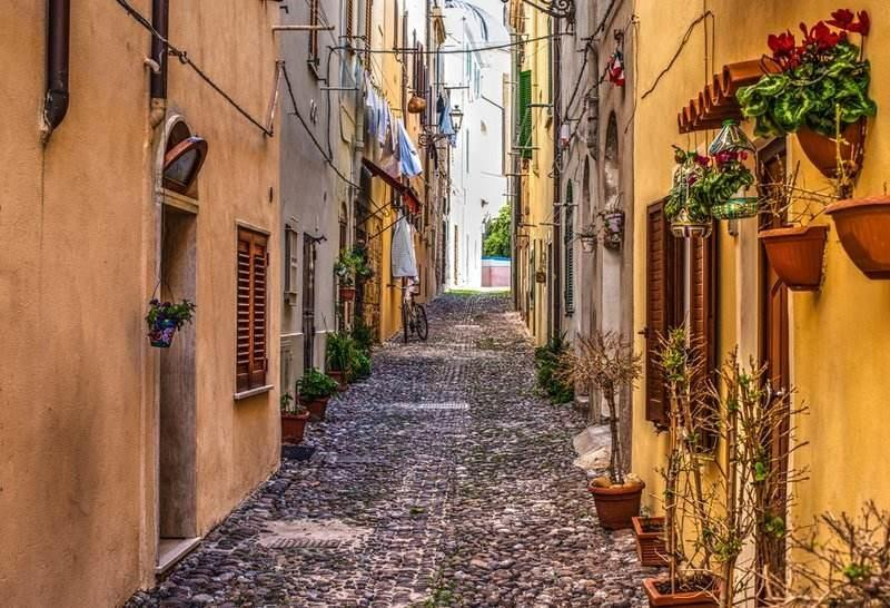 Alghero historic center cobblestone street