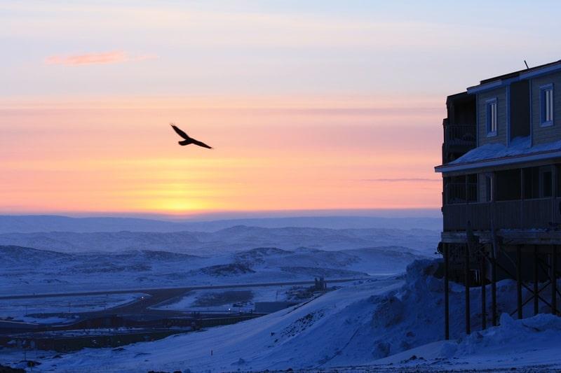 Sunset in Iqaluit Nunavut Canada - photo by Voyageur Tripper