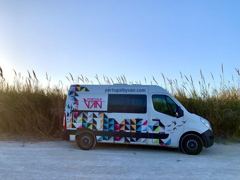 Portugal campervan trip - campervan parked in front of dunes