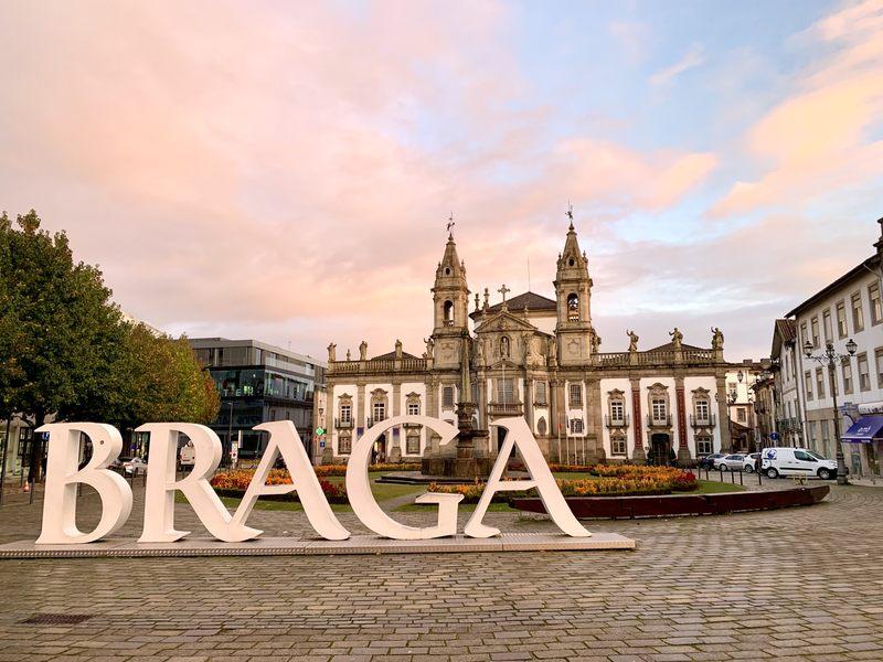 Braga sign in city center