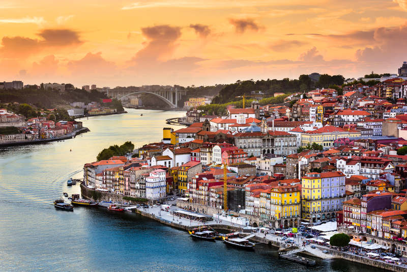 Sunset over Porto Ribeira district - Portugal